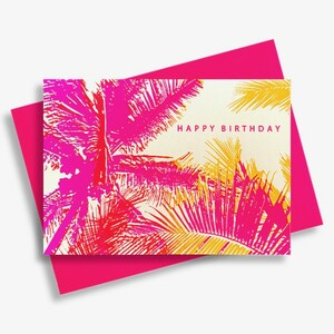 Briefkarte Happy Birthday Pink Palme - Pink Stories