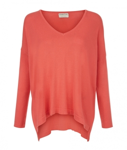 Kelly V-Neck Jumper Coral - People Tree