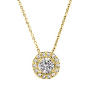 Goldene Kette im Halo-Stil mit synthetischen Diamanten Ajit - Eppi