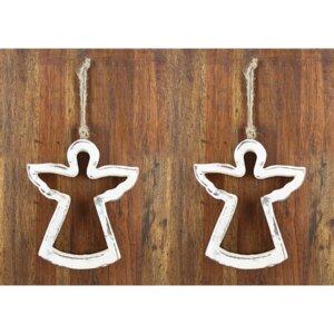 2er Set Weihnachtsbaumanhänger ENGEL oder TANNENBAUM aus nachhaltigem Holz - GLOBO Fair Trade