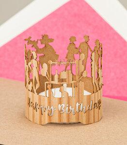 PopUp 3D Geburtstagskarte mit Windlicht aus echtem Holz - Artissima