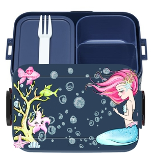 Bento Box Brotdose Lunchbox Meerjungfrau für Kinder Mädchen Junge blau - wolga-kreativ
