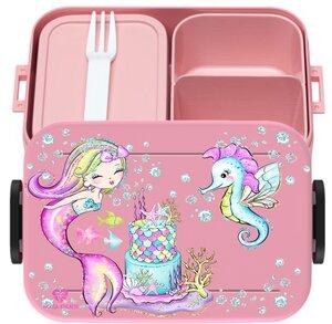 Bento Box Brotdose Lunchbox Meerjungfrau für Kinder Mädchen Junge rosa - wolga-kreativ