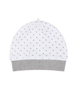 Baby Mütze weiß mit grauen Sternen Bio Baumwolle - sense-organics