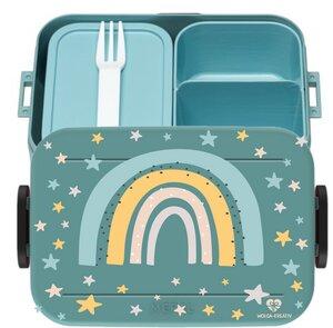 Bento Box Brotdose Lunchbox Regenbogen für Kinder Mädchen Junge türkis - wolga-kreativ