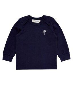 Baby Langarmshirt blau mit kleiner Stickerei - sense-organics
