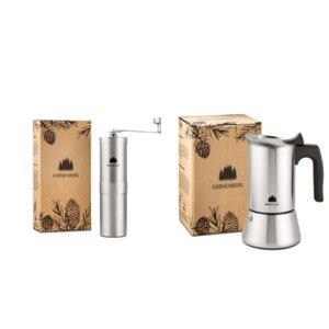 Spar-Pack 2: Manuelle Kaffeemühle + Espressokocher Induktion 6 Tassen - GROENENBERG