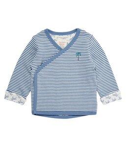 Baby Wickeljacke blau weiß geringelt mit kleiner Stickerei - sense-organics