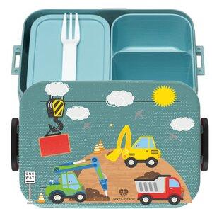 Bento Box Brotdose Lunchbox Baustelle für Kinder Mädchen Junge türkis - wolga-kreativ