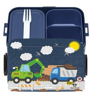 Bento Box Brotdose Lunchbox Baustelle für Kinder Mädchen Junge blau - wolga-kreativ