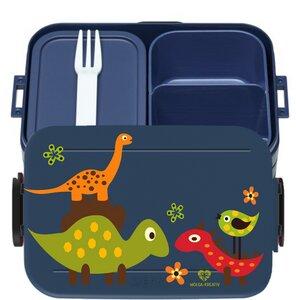 Bento Box Brotdose Lunchbox Dinosaurier für Kinder Mädchen Junge blau - wolga-kreativ