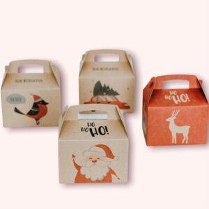 Giebelboxen 4er Set als Weihnachtsverpackung - Fines Papeterie