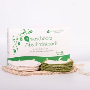 16 Waschbare Abschminkpads aus Bio-Baumwolle / Farbe: natur + grün inkl. Baumwollbeutel - OrganicMom®
