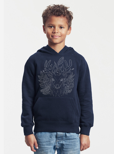 "Bio-Kinder-Kapuzen-Sweatshirt ""Zauberhirsch"" - Peaces.bio - Neutral® - handbedruckt"