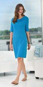 Kleid 1/2 Arm mit Wasserfallkragen - blau - Madness