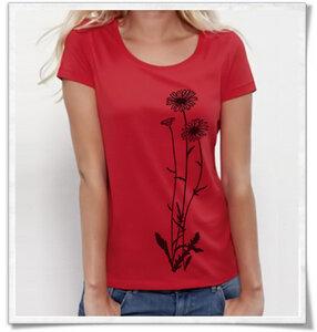 Blumen T-Shirt in rot  für Frauen - Picopoc