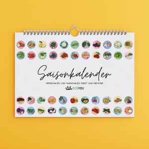 Saisonkalender für Obst und Gemüse A4, Wandkalender undatiert Gemüsekalender - EcoYou