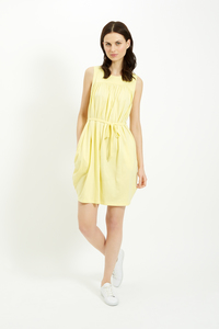 GATHERED TIE DRESS YELLOW - Peopletree