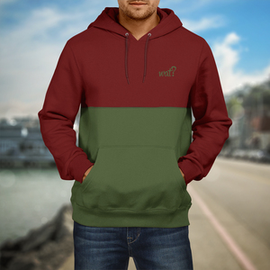 Burgundy & Olive - Cut'n'Sew Hoodie - What about Tee