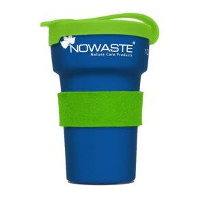 Blauer Trinkbecher  mit Deckel  Manschette in grün - NOWASTE