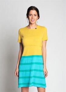 Stillkleid 'Mel' aus 100% feingestrickter Bio-Baumwolle gelb-türkis von Milker - Milker