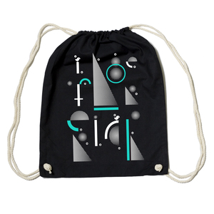 Bio Gym Bag - Festival Turnbeutel Black 'Geometric' - SILBERFISCHER