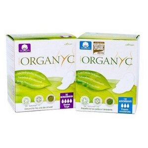 Jahresvorrat mit 12 Packungen Bio-Binden (7x normal, 5x super) - Organyc (erdbeerwoche)
