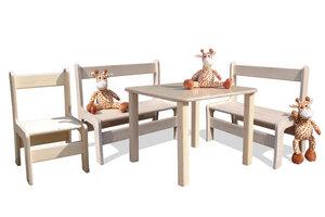 Kindersitzgruppe - Tisch, 2 Bänke und 1 Stuhl - Die Schreiner Christoph Siegel