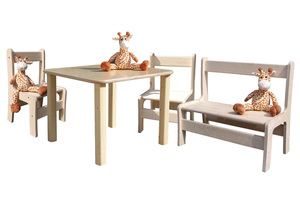 Kindersitzgruppe - Tisch, 2 Stühle und 1 Bank - Die Schreiner Christoph Siegel