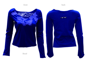 Ladies Long Sleeve V Neck Top with Dragon - Chakura by Ku Ambiance