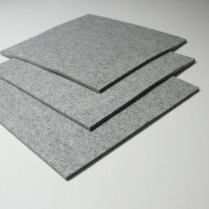 Filz Sitzauflage 40x40 cm hellgrau-meliert 5 mm  - tuchmacherin - handgewebtes design + filz