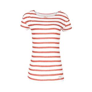 Striped Damen T-Shirt Rot - bleed