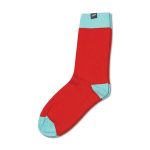 Bunte color block Socken aus Bio-Baumwolle für Männer und Frauen - Rot / Blau - MINGA BERLIN