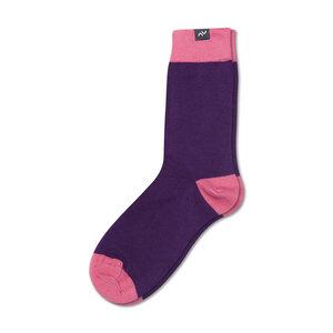 Bunte color block Socken aus Bio-Baumwolle für Männer und Frauen - Violett / Rosa - MINGA BERLIN