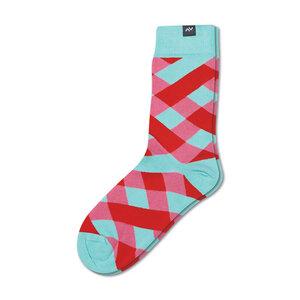 Bunte karierte Socken aus Bio-Baumwolle für Männer und Frauen - Rot / Blau / Rosa - MINGA BERLIN
