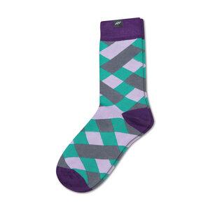 Bunte karierte Socken aus Bio-Baumwolle für Männer und Frauen - Violett / Grün / Grau - MINGA BERLIN