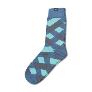Bunte karierte Socken aus Bio-Baumwolle für Männer und Frauen - Blau / Denim / Aqua / Grau - MINGA BERLIN