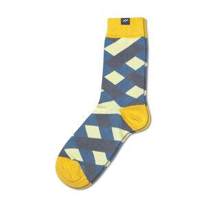 Bunte karierte Socken aus Bio-Baumwolle für Männer und Frauen - Gelb / Blau / Grau - MINGA BERLIN