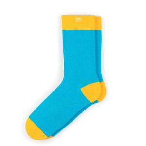 Bunte color block Socken aus Bio-Baumwolle für Männer und Frauen - Gelb / Cyan - MINGA BERLIN