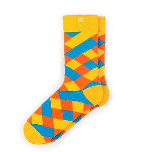 Bunte karierte Socken aus Bio-Baumwolle für Männer und Frauen - Gelb / Blau - MINGA BERLIN
