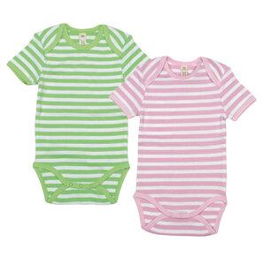 Kurzarm Baby Body -  rosa/weiss gestreift - sense-organics