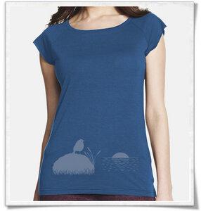 VOGEL BEI SONNENUNTERGANG / Denim-Blau & Grau / Bambus T-Shirt - Picopoc