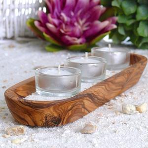 Teelichter-Wellness-Set (Ablage, 3 Teelichter & -halter, Sand) - Olivenholz erleben