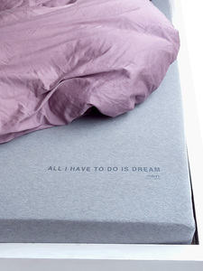 PREMIUM Spannbettlaken Mélange ´ALL I HAVE TO DO IS DREAM´ | 140x200 | Bio  - milch Basics