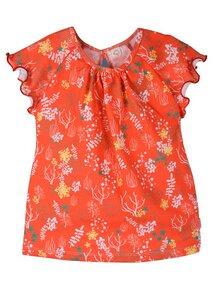 Mädchen Kurzarmshirt orange mit Muster Bio Baumwolle - iobio