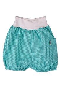 Baby Shorts grün kariert mit großer Tasche Bio Baumwolle - iobioTM (PoPoLiNi®)