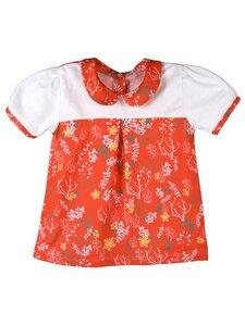 Mädchen Bluse orange/weiß mit Muster Bio Baumwolle - iobio