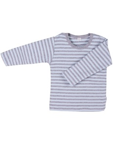 Baby u. Kinder LA Shirt blau/grau geringelt Bio Baumwolle - iobio