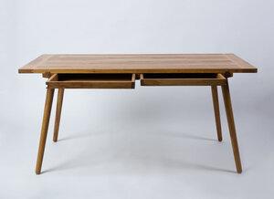 Massivholztisch 'Nikklas' aus Eiche mit Schubladen (160 cm) - Anton Doll Holzmanufaktur