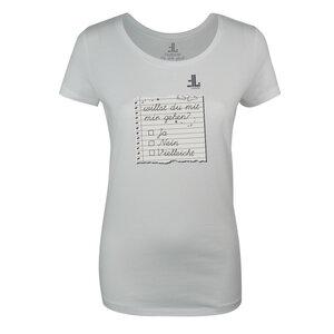 FAIRLIEBT 'Willst Du mit mir gehen' Girlie T-Shirt, weiß - Fairliebt.